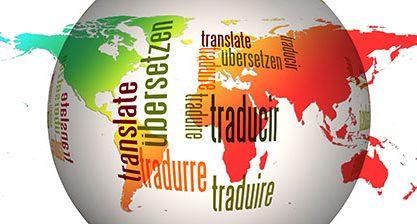 Grafik af globus med ordet oversættelse skrevet på flere sprog