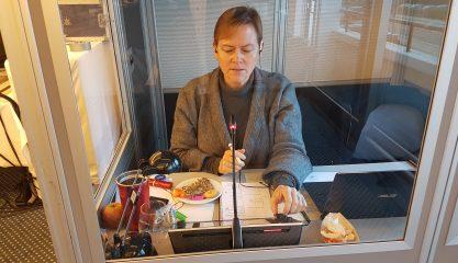 Heidi Flegal tolker i kabinen fra engelsk til dansk